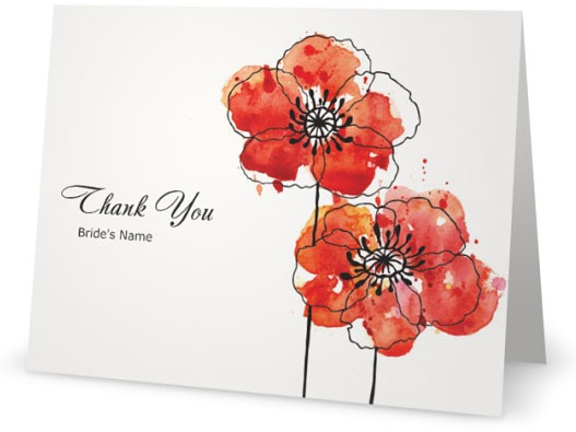 Thank You Cards With Poppies Custom Printing Deals