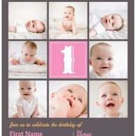 baby girl first birthday photo invitations vistaprint