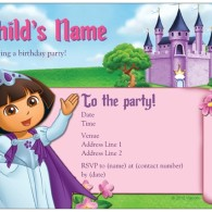 custom Dora explorer princess birthday invites
