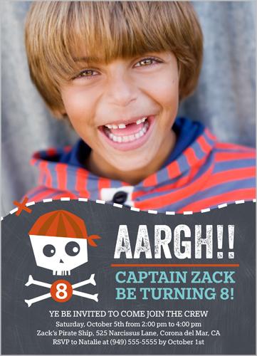 photo birthday invites with pirate theme custom text