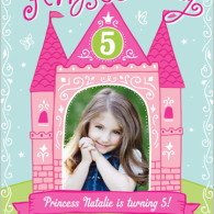 photo birthday invites pink princess castle