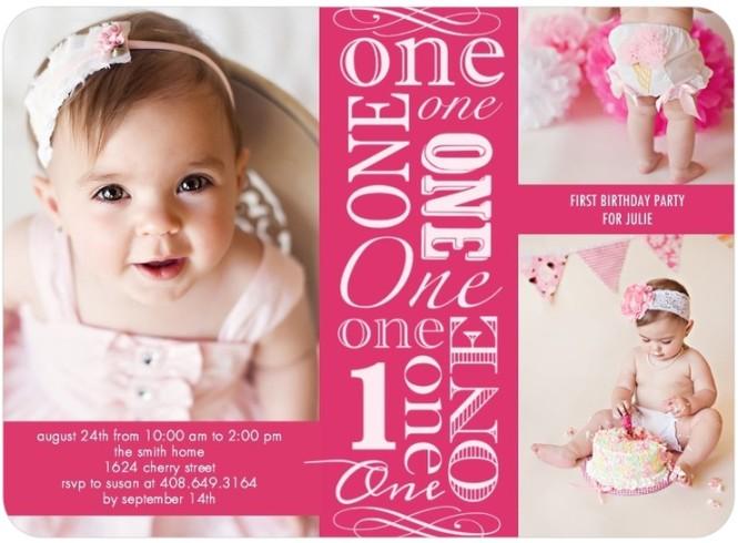 girl first birthday invites pink - tiny prints