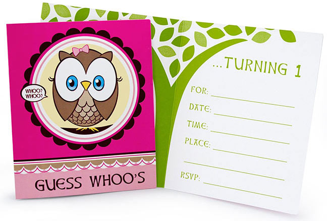 cheap owl theme birthday party invites