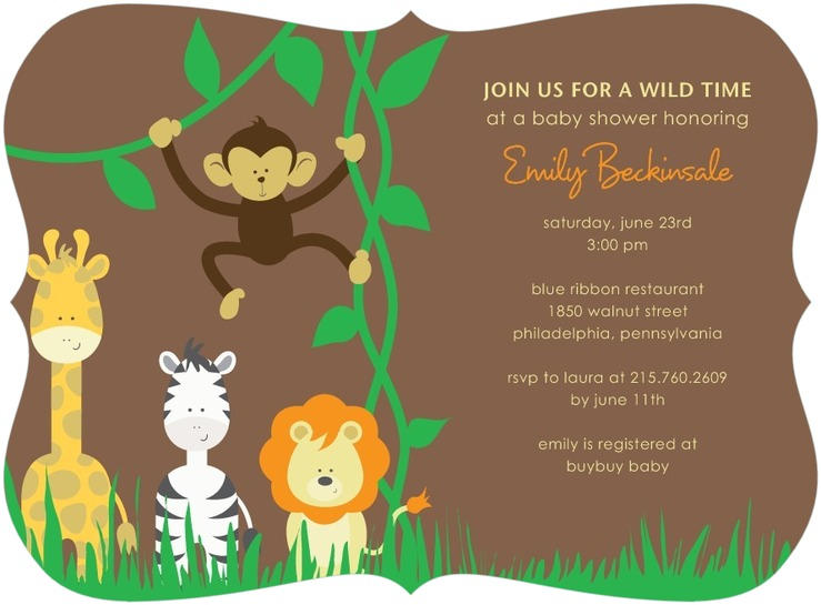 Baby Shower Invites Jungle Theme Tiny Prints Custom