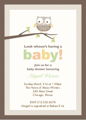 Personalized Owl theme baby girl shower Invitations