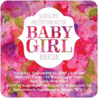 baby shower invite girl floral tiny prints