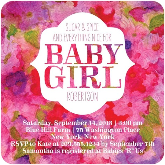 personalized baby shower invitations for a baby girl from tiny prints