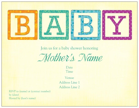 Custom printed baby blocks baby shower Invitations