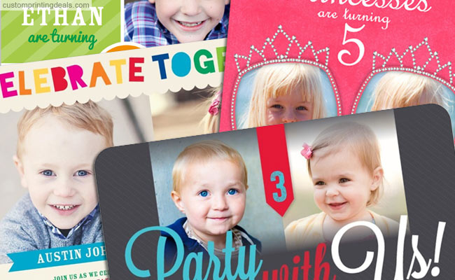 best twins custom photo birthday invitations