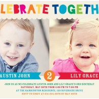 twins birthday party invites tiny prints - one boy and one girl
