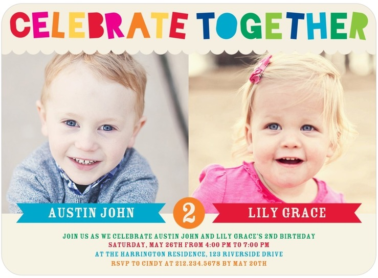 Twins Bday Invites Tiny Prints Mixed Gender Celebrate Together