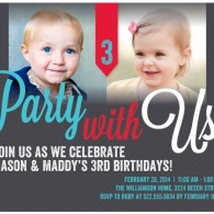 twins bday invites tiny prints 2 photos