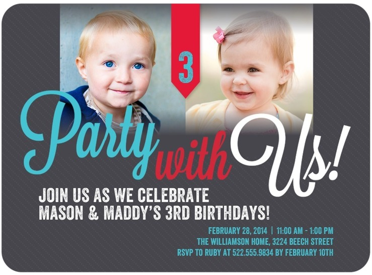 Twins Birthday Invitations wblqualcom