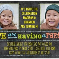 twins bday invites tiny prints stylish