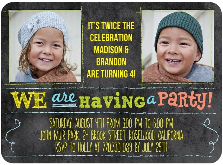 twins birthday party invitations  sweet discount photo invites, Birthday invitations