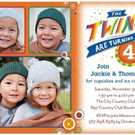twins bday invites with 3 photos tiny prints