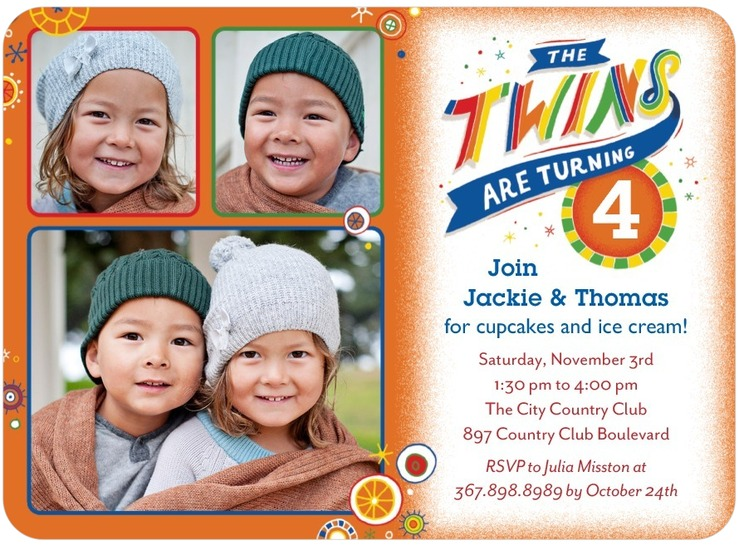 Twins Bday Invites With 3 Photos Tiny Prints Custom Printing Deals