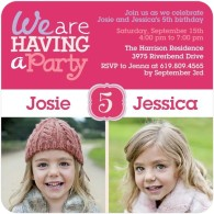 twin girls photo bday invites tiny prints