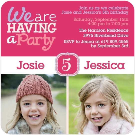 We are having a party twin girls photo bday invites tiny prints twin girls birthday party invitations from tinyprints filmwisefo