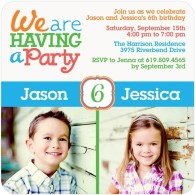 gender neutral custom birthday invitations for twins