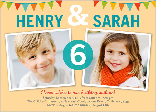 Twins Birthday Party Invitations 18 Sweet Discount Photo Invites
