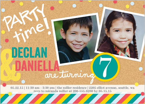 Twins Boy Or Girl Photo Birthday Invite Shutterfly Custom