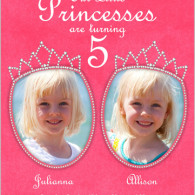 twins pink princess photo birthday invite shutterfly