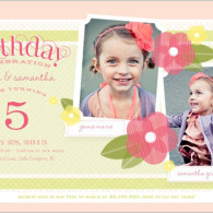 twin girl flower birthday invitations pink feminine