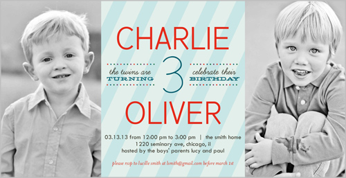 twins birthday invites shutterfly black and white photos custom