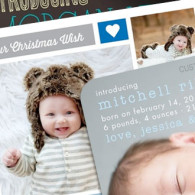 birth announcement coupon for tiny prints - baby boys