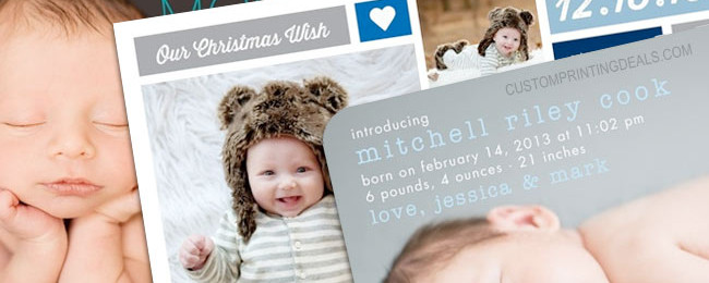 Stylish Birth Announcements for a Baby Boy: Tiny Prints