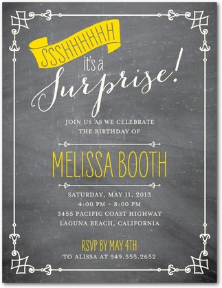 surprise party invitations: 6 stylish personalized invites - tiny, Party invitations
