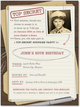 surprise party invitation with photo