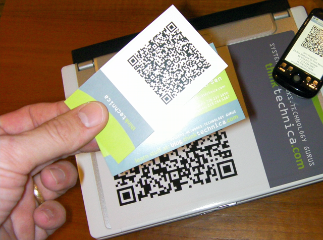 Should you use a qr code on your business cards thats a definite print qr code business cards reheart Gallery