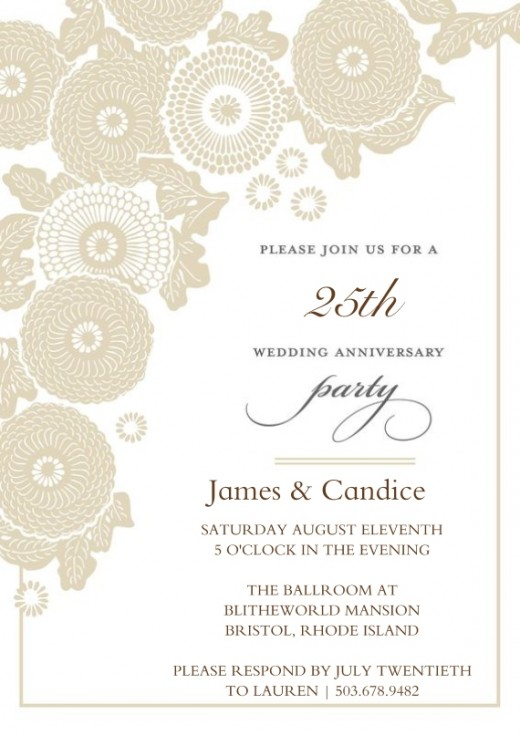 50th anniversary invitations floral