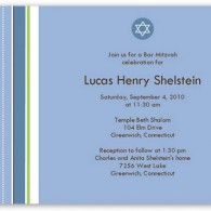 star of david bar mitzvah invitations with stripes