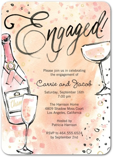 engagement party invites champagne bottle