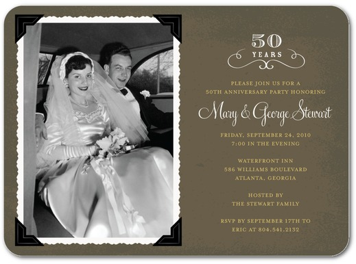 inexpensive anniversary invites vintage photo