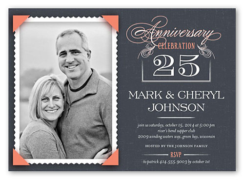 personalized anniversary party_invitations black white photo