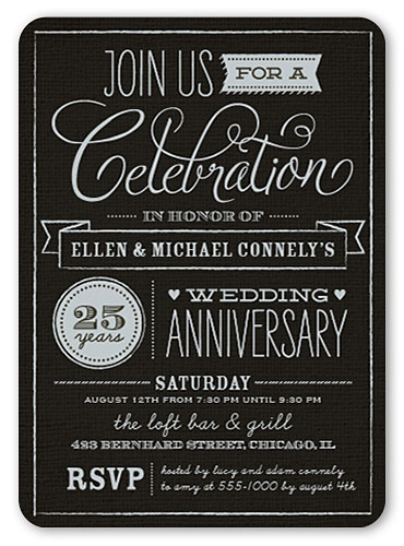 personalized anniversary party invitations chalkboard