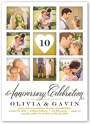 personalized photo collage anniversary party invitations collage