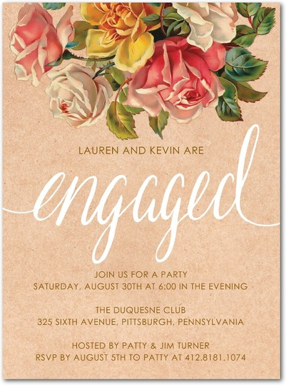 personalized engagement party invitations vintage flowers