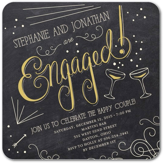 personalized engagement party invitations champagne toast