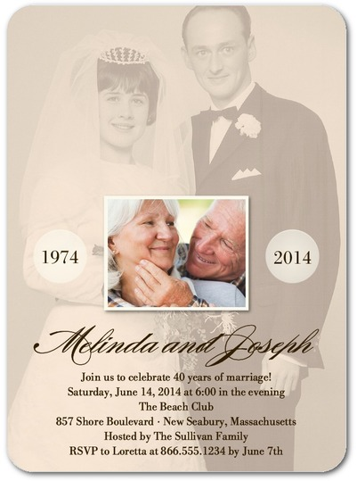 personalized wedding anniversary invitation new old photo