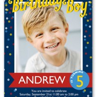shutterfly photo birthday invitation boy blue