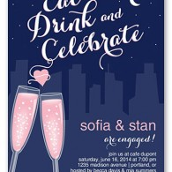 shutterfly engagement invitation champagne glass toast city