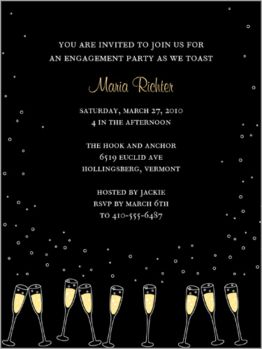 shutterfly engagement invitation champagne glasses champagne toast under the stars