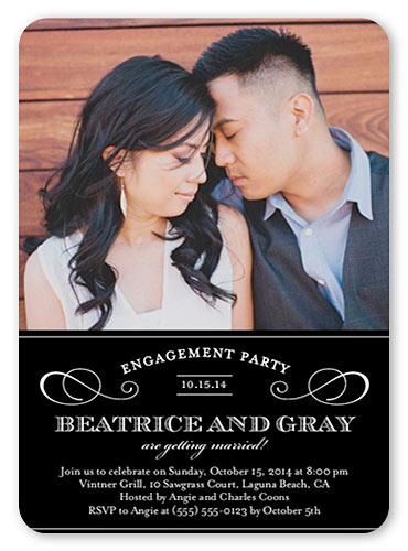 shutterfly personalized engagement invitation one photo