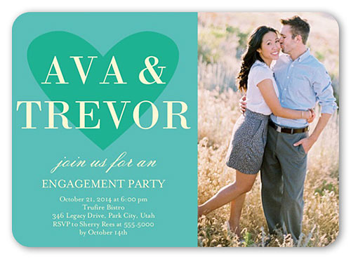 shutterfly engagement invitations photo heart