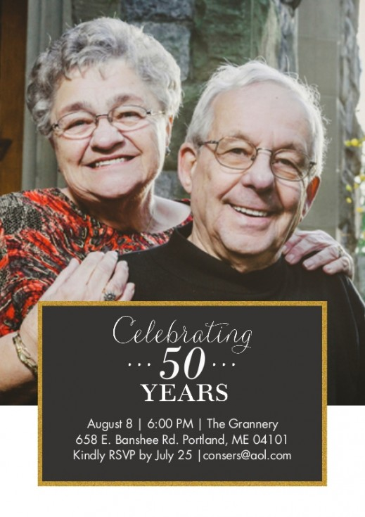 snapfish 50th anniversary invitations with photo